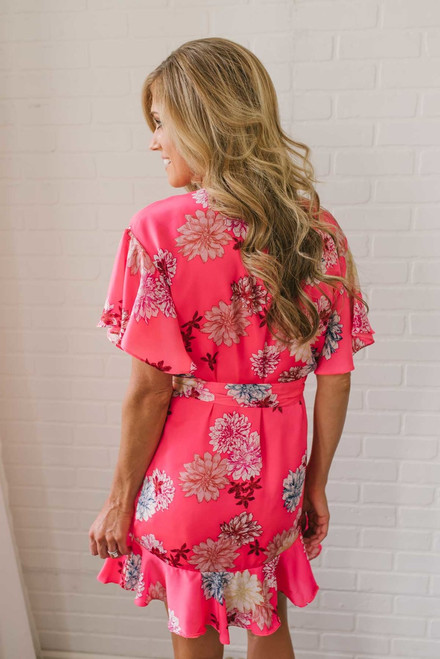 BB Dakota Kirsten Floral Wrap Dress - Pink Multi - FINAL SALE