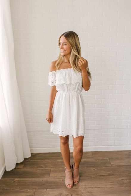 Off the Shoulder Eyelet Dress - Off White