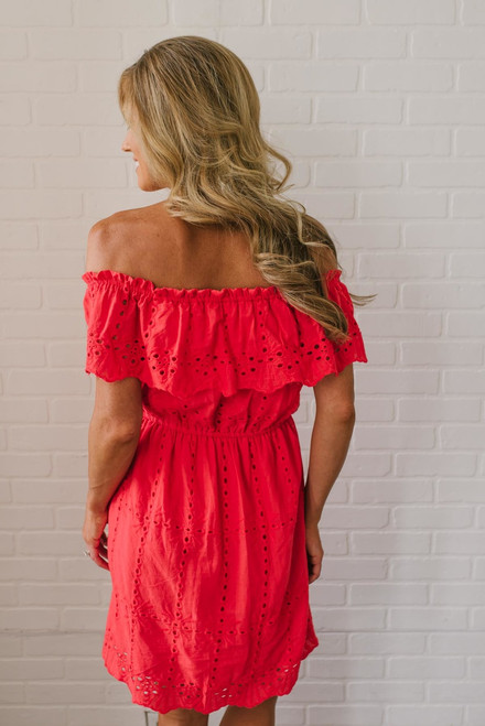 Off the Shoulder Eyelet Dress - Red