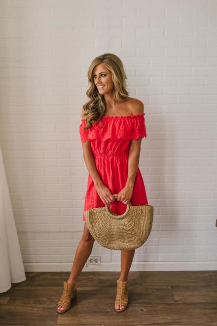 Off the Shoulder Eyelet Dress - Red - FINAL SALE