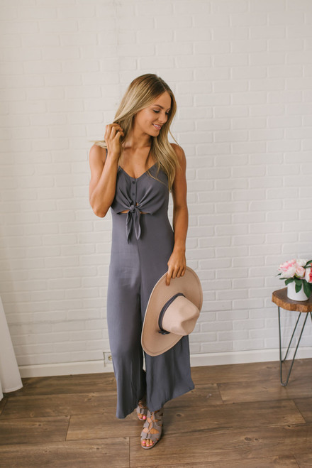 Seabrook Island Knot Front Jumpsuit - Charcoal