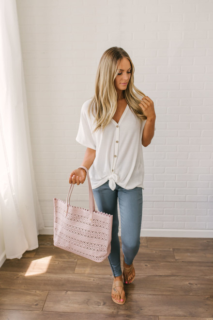 Short Sleeve Thermal Knot Top - Off White