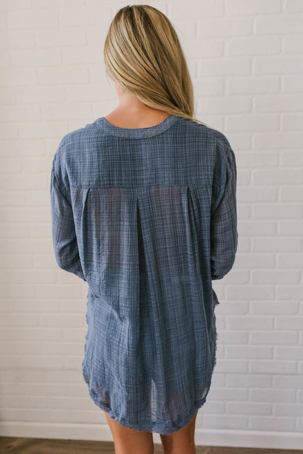 Free People Talk to Me Top - Blue - FINAL SALE