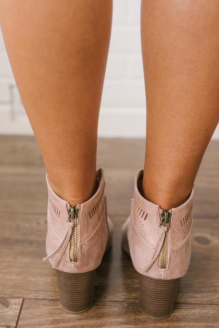 Wayward Summer Perforated Booties - Taupe - FINAL SALE