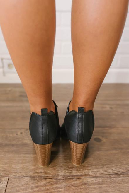 Madison Park Peep Toe Perforated Booties - Black
