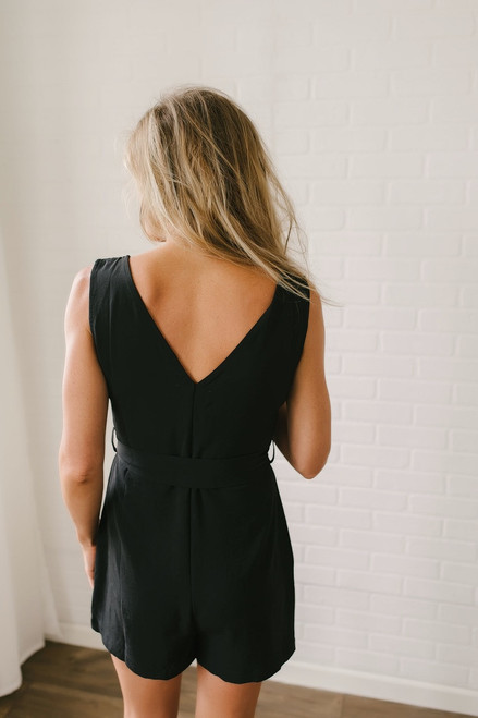 Bourbon Street Button Down Romper - Black - FINAL SALE