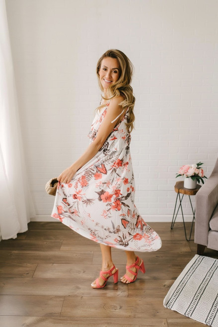 Gemma Floral High Low Dress - Off White Multi - FINAL SALE