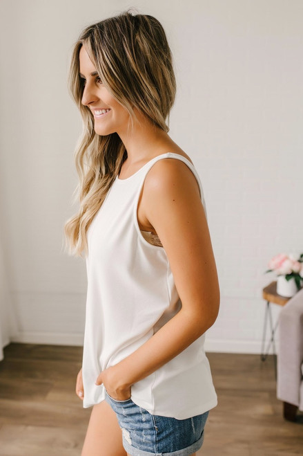 Deep V-Back Ribbed Tank - Ivory