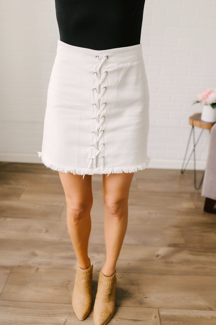 Lace Up Denim Skirt - Off White - FINAL SALE