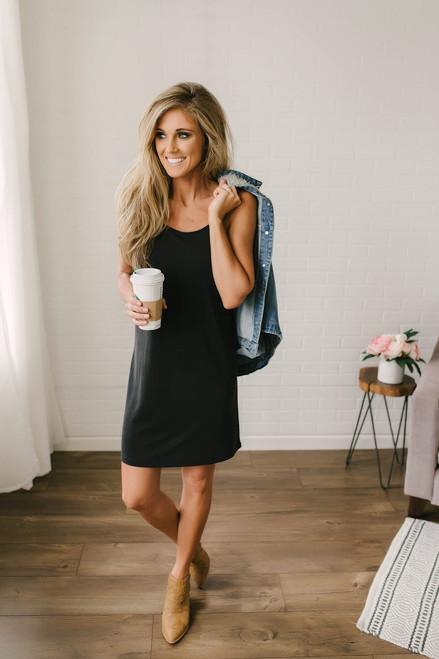 Island Breeze Solid Knit Dress - Black