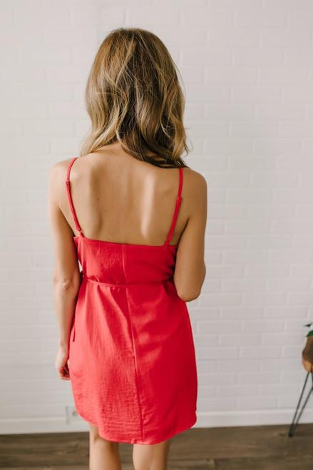 Everly Sienna Ruffle Wrap Dress - Red
