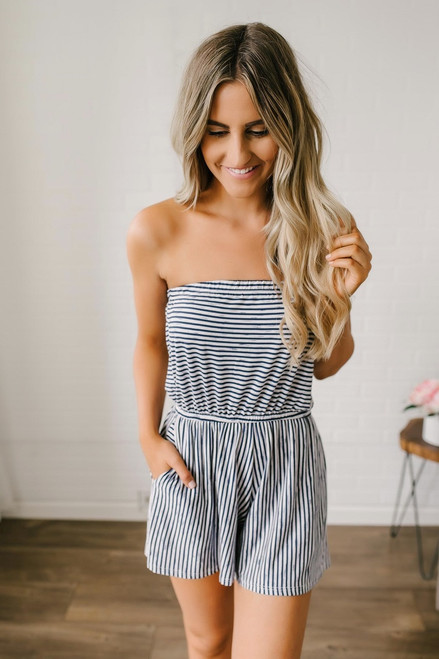 Double Scoop Strapless Striped Romper - Navy/White