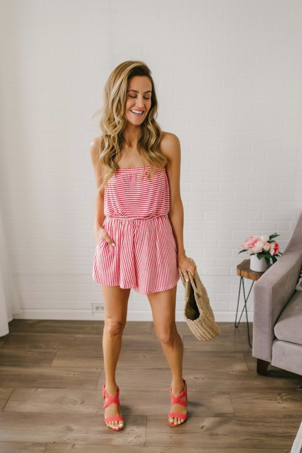 Double Scoop Strapless Striped Romper - Pink/White