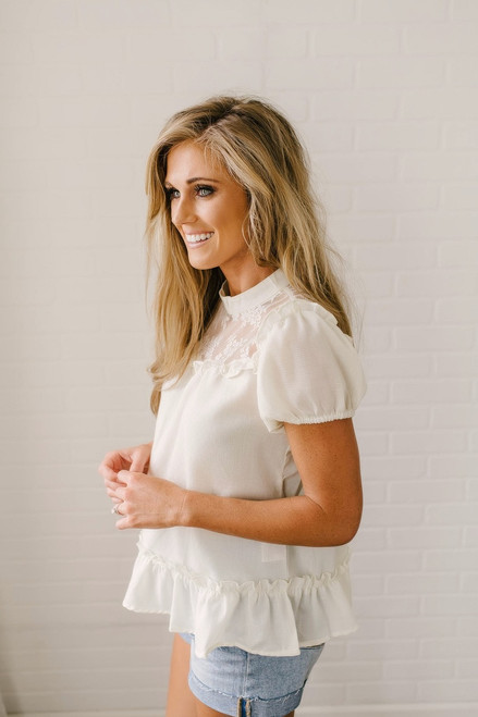 Isadora Ruffle & Lace Detailed Top - Cream - FINAL SALE