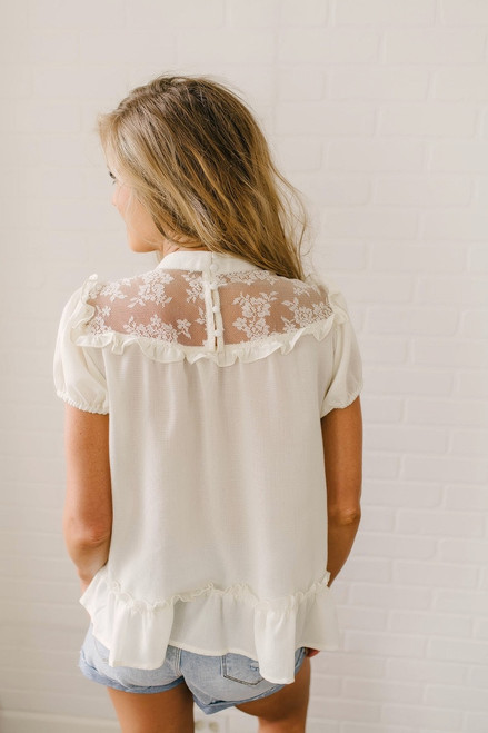 Isadora Ruffle & Lace Detailed Top - Cream