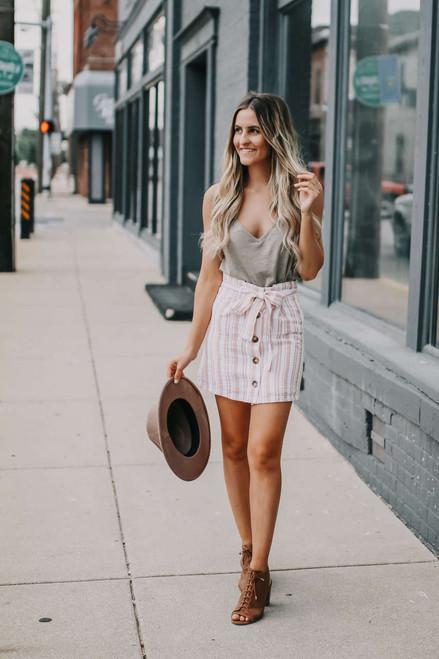 Button Down Striped Skirt - Pink/White