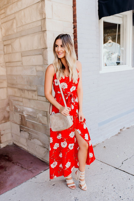 Aruba Knotted Floral Slit Maxi - Red Multi - FINAL SALE