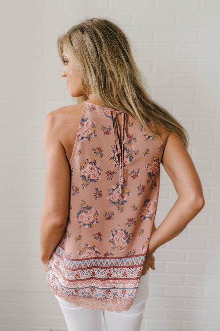 Pippa Crochet Detail Floral Tank - Mauve Multi