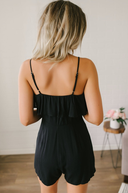 Moonlight Stroll Knot Detail Romper - Black - FINAL SALE