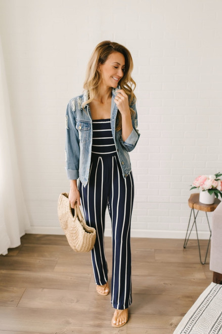 Smooth Sailing Strapless Striped Jumpsuit - Navy/White