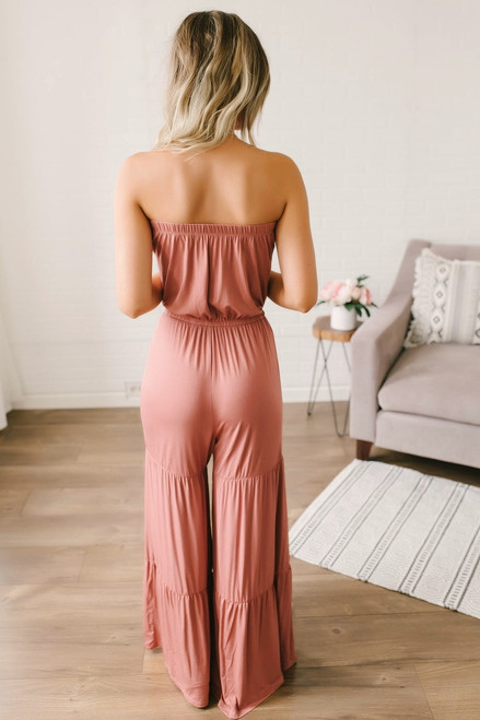Wild Heart Strapless Tiered Jumpsuit - Dusty Rose - FINAL SALE