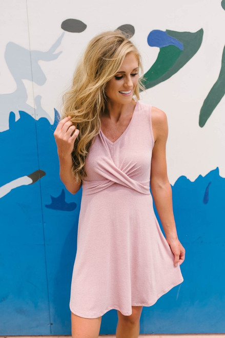 Paris Cafe Knit Crossover Dress - Blush