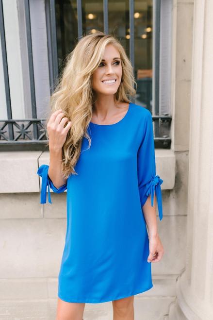 Everly Tie Sleeve Shift Dress - Blue
