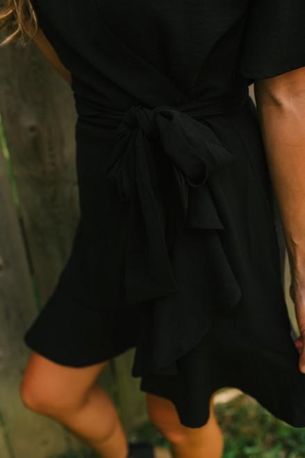 Short Sleeve Ruffle Wrap Dress - Black