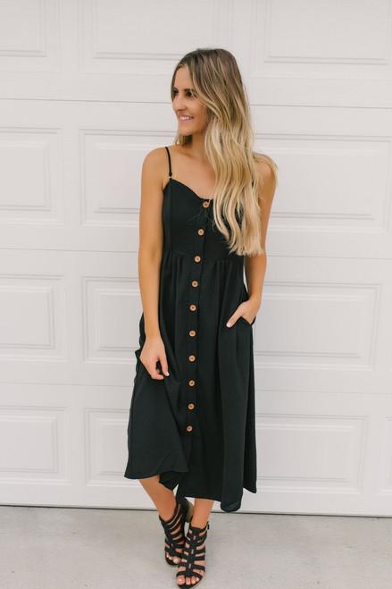 Madeline Button Down Midi Dress - Black