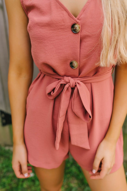 Bourbon Street Button Down Romper - Autumn Rust - FINAL SALE