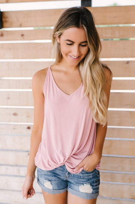 Road Trip Knotted Tank - Pink