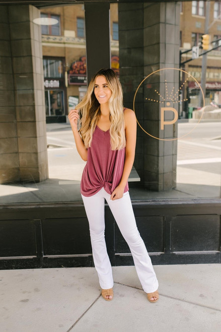 Road Trip Knotted Tank - Wine