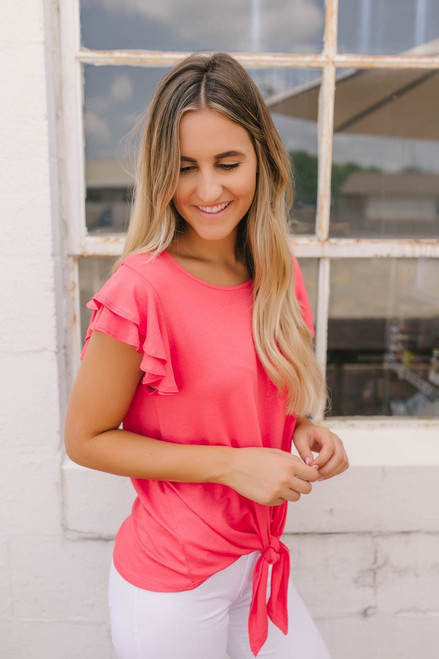 Double Ruffle Sleeve Knot Top - Coral