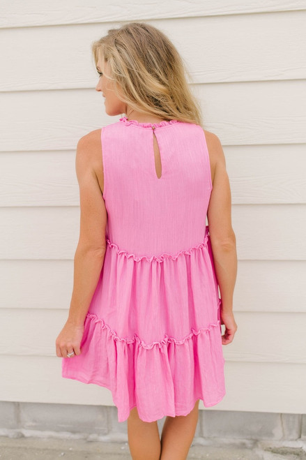 Hawaiian Holiday Tiered Dress - Hot Pink