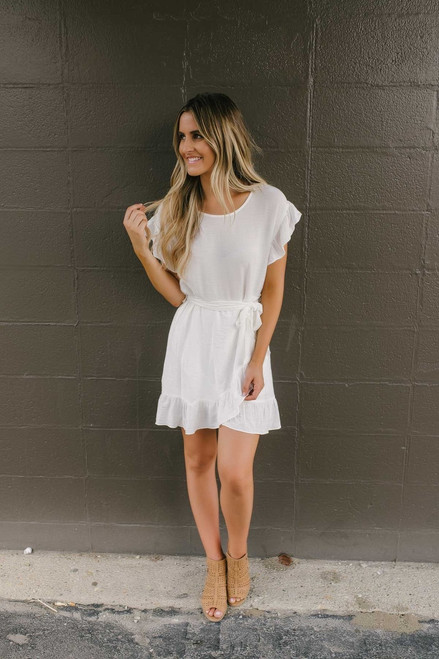 Short Sleeve Ruffle Detail Dress - Off White