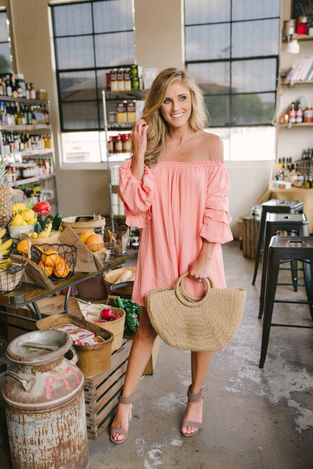 Off the Shoulder Tiered Sleeve Dress - Peach - FINAL SALE