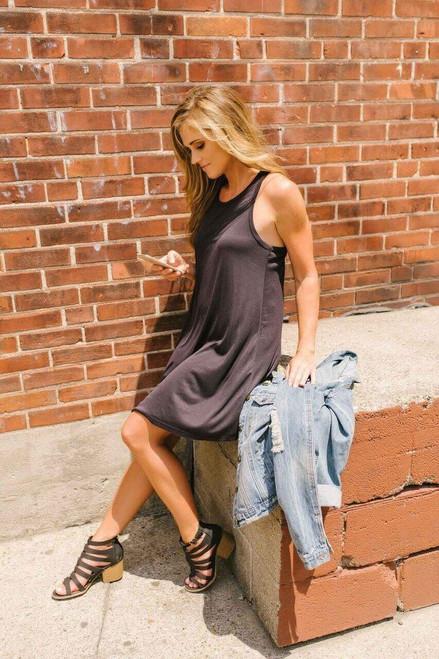 Bohemian Summer Ribbed Knit Dress - Black - FINAL SALE