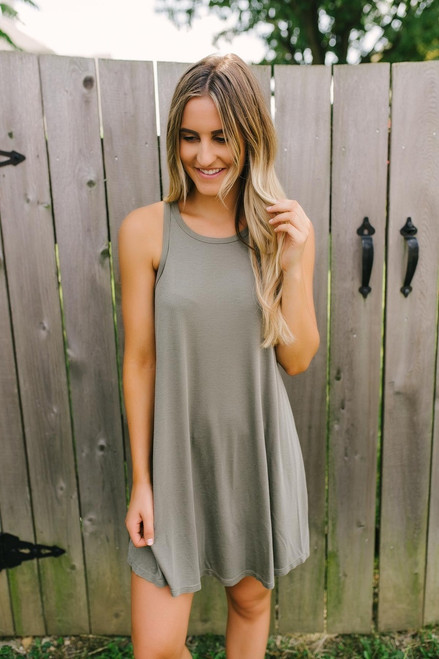 Bohemian Summer Ribbed Knit Dress - Olive- FINAL SALE