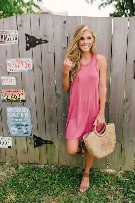 Bohemian Summer Ribbed Knit Dress - Marsala - FINAL SALE
