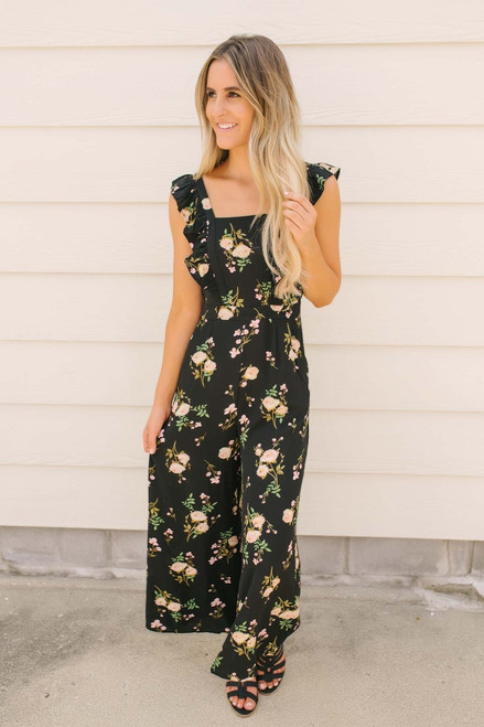 Midnight by the Sea Floral Jumpsuit - Black Multi- FINAL SALE