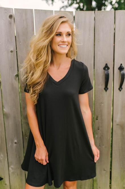Flip Flop Summer Knit Dress - Black