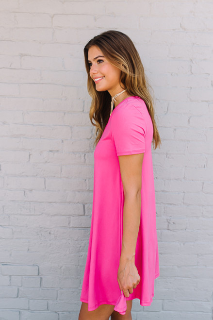 Flip Flop Summer Knit Dress - Hot Pink - FINAL SALE