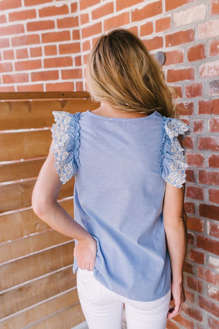 Kennedy Eyelet Detail Chambray Top - Blue