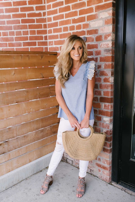Kennedy Eyelet Detail Chambray Top - Blue - FINAL SALE