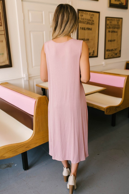 V-Neck Knotted Maxi Top - Blush