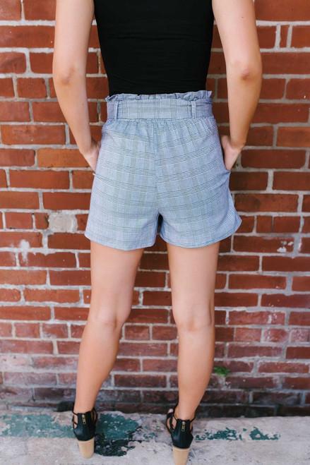 Blair Tie Waist Plaid Shorts - Black