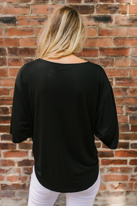 Unchained Melody Button Down Knot Top - Black