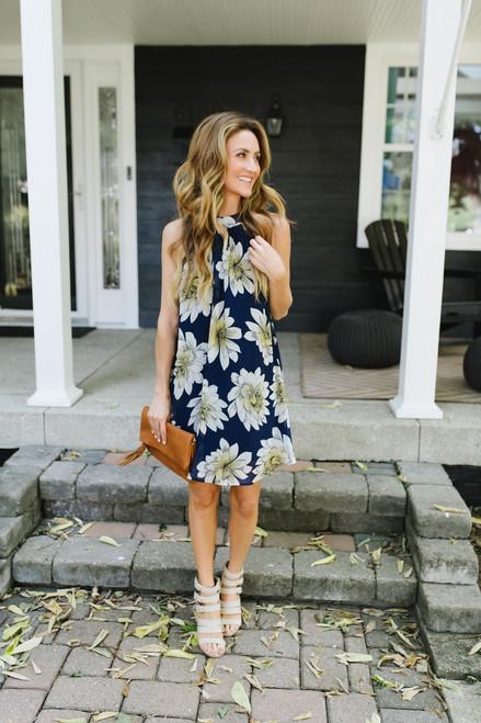 Bermuda Sunshine Floral Dress - Navy Multi - FINAL SALE