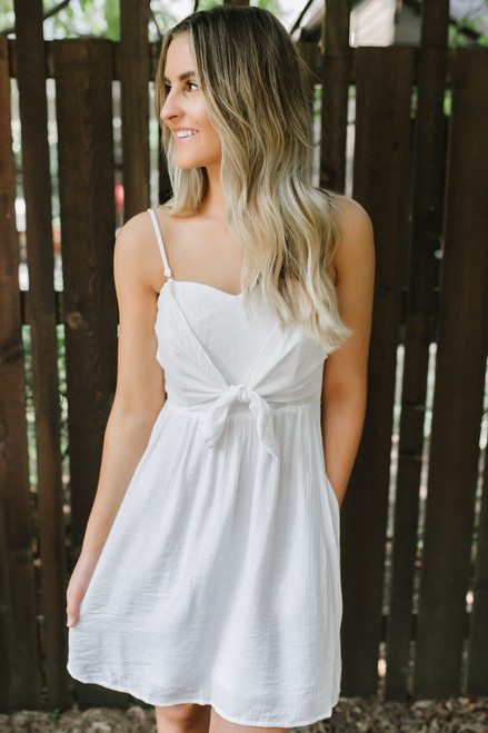 Southampton Knot Detail Dress - Off White - FINAL SALE