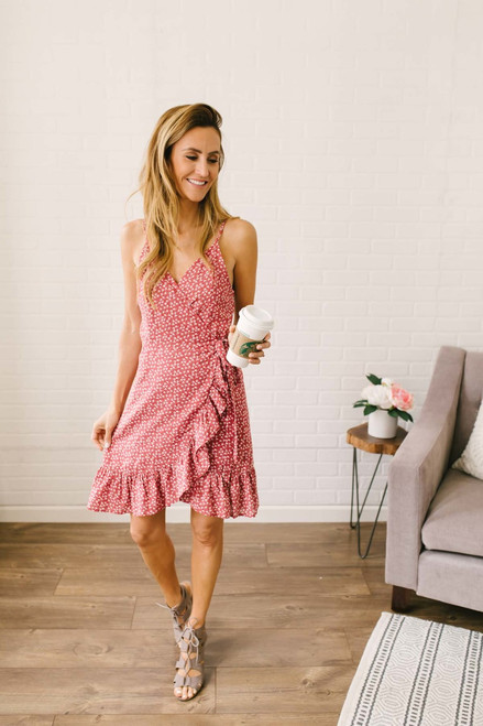 Tuscan Summer Floral Wrap Dress - Marsala Multi